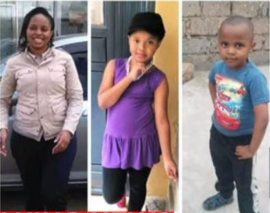 From (L) Mugure's estranged partner Joyce Syombua and their two children Shanice Maua (M) and Prince Michael (R) (Courtesy Citizen TV)