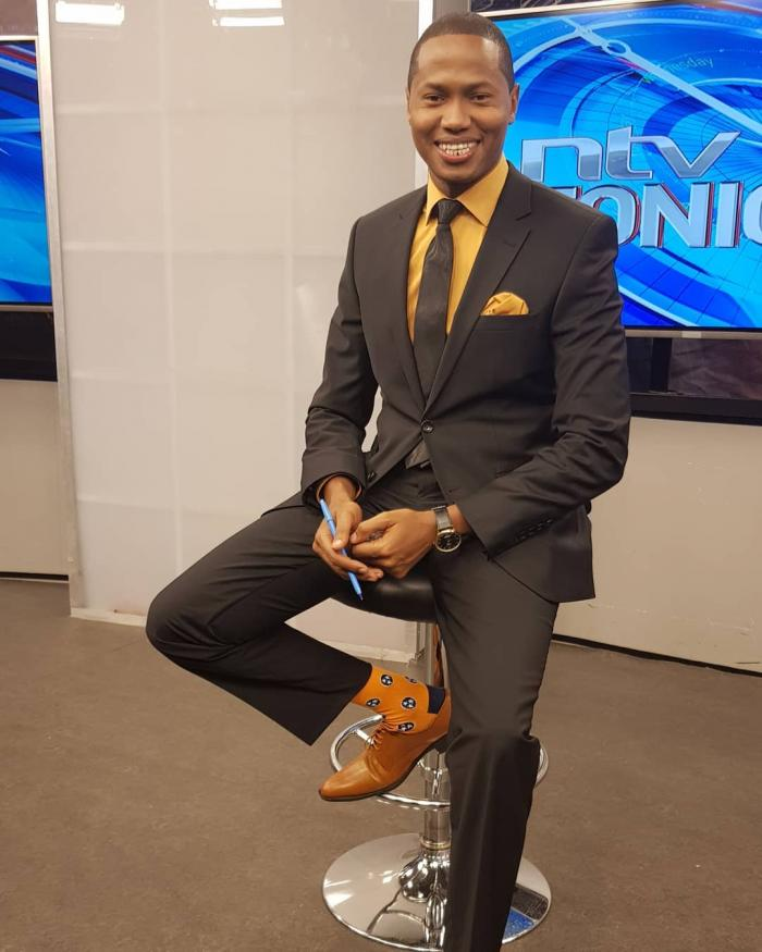 NTV anchor Salim Swaleh at NTV studios. He worked for a radio station in Nakuru, Touch FM, for free for one year.