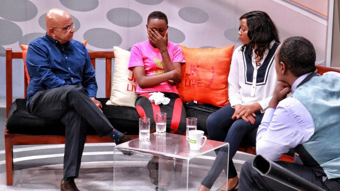 Jeff Koinange with Ashman Puri, Bianca Wambui and Miriam Wambui. Bianca, 13, broke down and wept while narrating how she was stigmatised over breast cancer