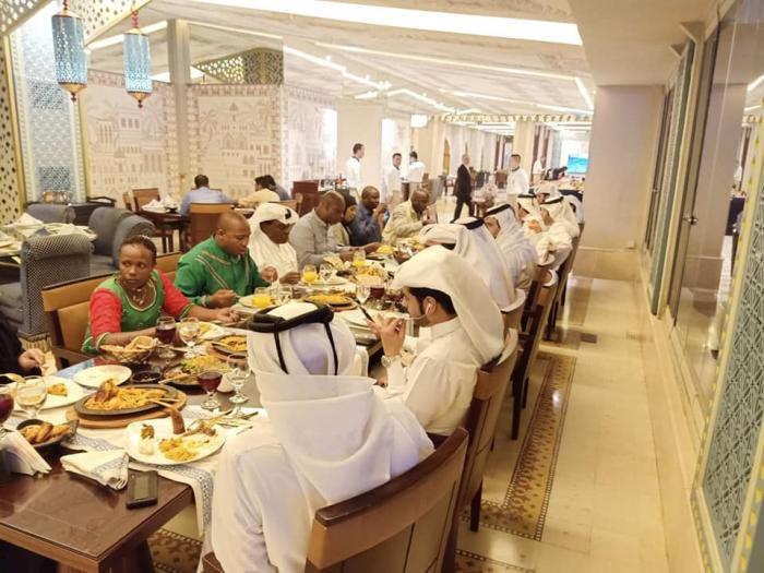 Nominated MP David ole Sankok and his wife, Hellen Sankok (both in green) dine like Kings in Qatar on Tuesday, October 22.