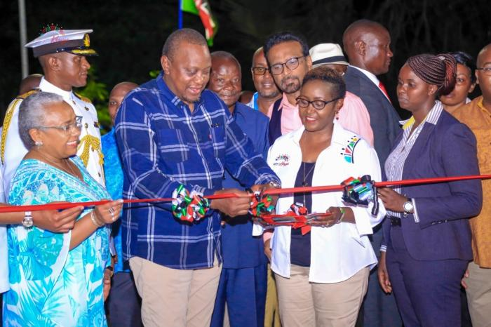 President Uhuru on Sunday, October 20, when he led Kenyans in opening the newly refurbished Mama Ngina waterfront in Mombasa during Mashujaa day.
