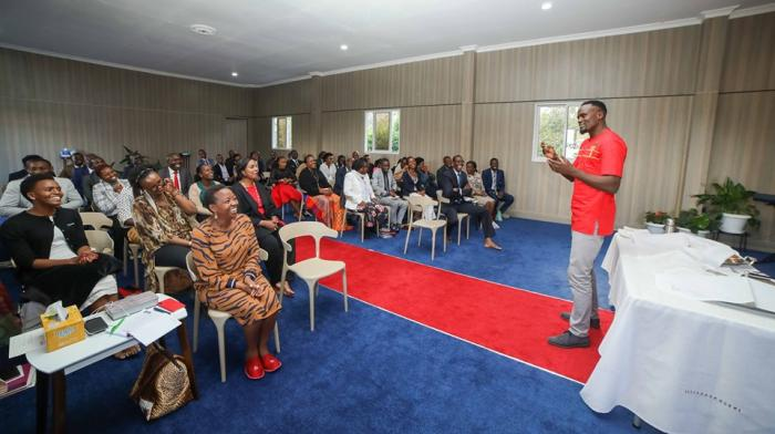 Jubilee Party candidate for Kibra by-election McDonald speaking at the National Prayer Altar inside Deputy President William Ruto's official residence on Wednesday, October 30, 2019.