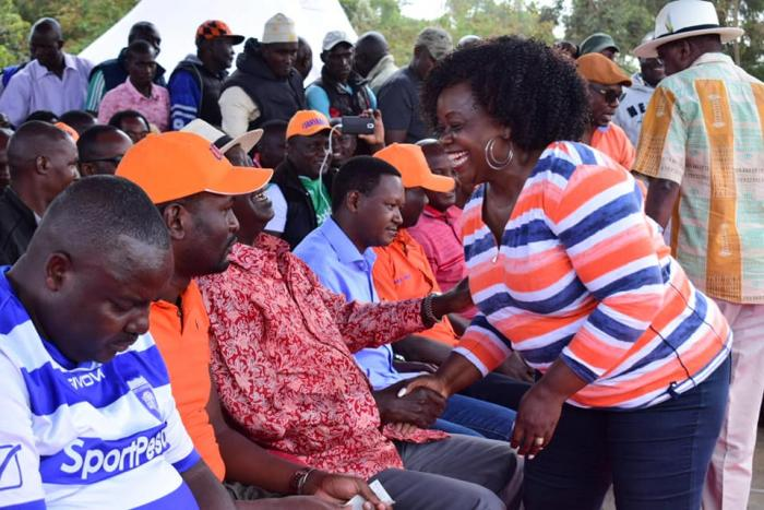 Suba North MP Millie Odhiambo at Kibra MP-elect Bernard Imran Okoth's thanksgiving service at DC Grounds on Sunday, November 11, 2019.