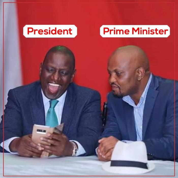 DP William Ruto with Gatundu South MP Moses Kuria. The posted sparked an uproar on Saturday, November 30, 2019