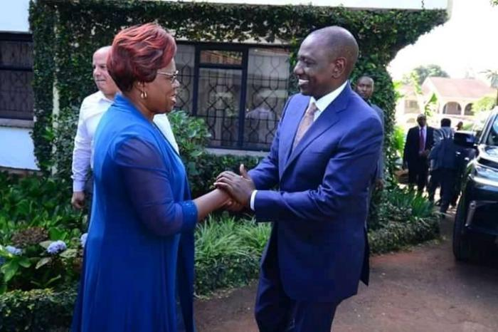 Deputy President William Ruto with Kandara MP Alice Wahome during the funeral of the latter's brother on November 19, 2019.