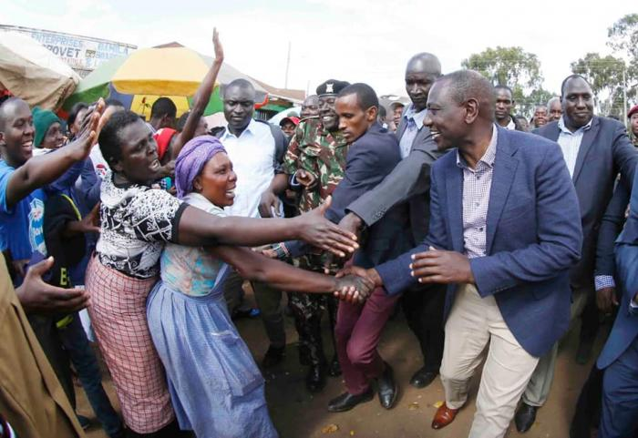 Ruto greets followers at Kitale Market and Bus Terminus on Friday, December 13, 2019
