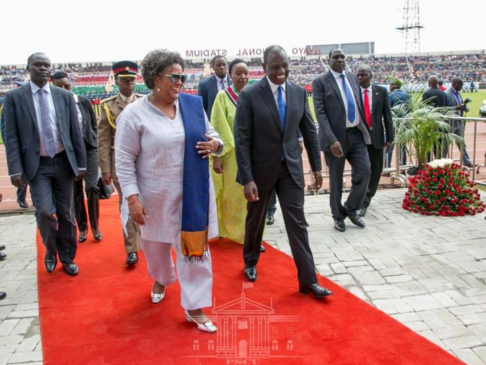Deputy President William Ruto walks The Barbadian PM on the Red Carpet at Nyayo National Stadium on December 12 2019