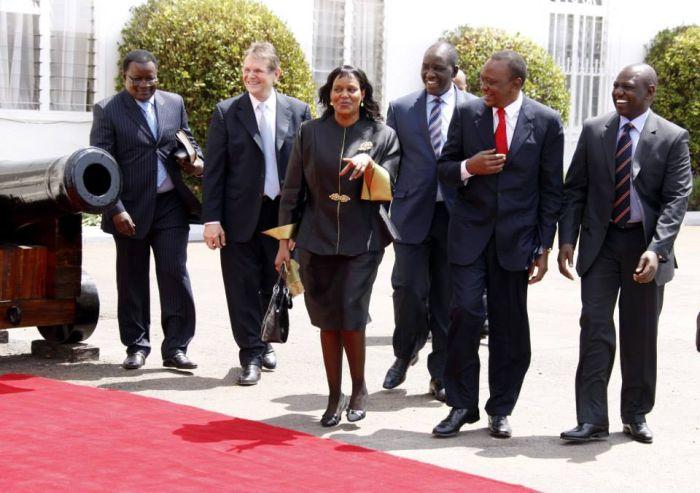 President Uhuru Kenyatta with German Evangelist Reinhard Bonnke who called on him at State House, Nairobi June 6, 2013