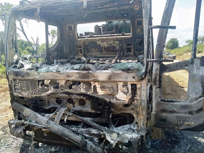 A truck that was set ablaze by suspected Al Shabab Militia on February 9.