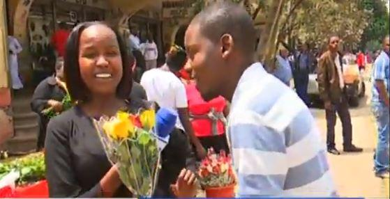 KTN News presenter Timothy Otieno suprises co-presnter Grace Kuria with a bouquet of flowers on Valentines Day, Friday, February 14