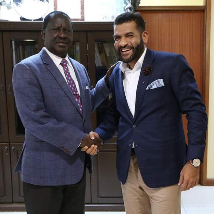 Abdulswamad Sharrif with former prime minister Raila Odinga when he paid him a courtesy visit in his office.