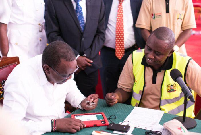 President Uhuru Kenyatta launched the National Integrated Identity Management System (Huduma Namba) registration at Masii, Machakos County in April 2019
