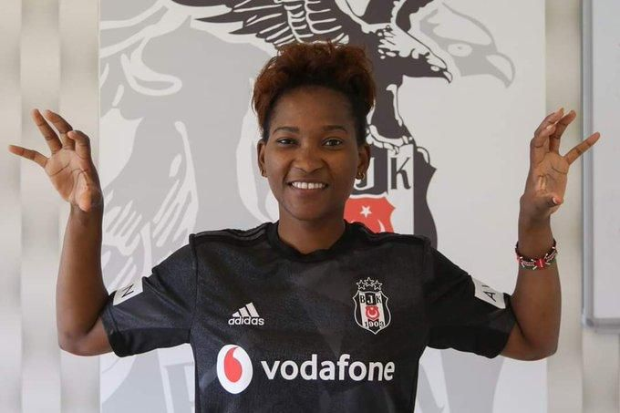 Harambee Starlets striker Essie Akida poses after signing for Besiktas in Istanbul, Turkey on February 17