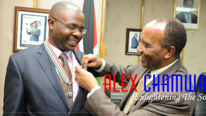 Alex Chamwada was awarded the Order of Grand Warrior (OGW) presidential award in 2010 by president Mwai Kibaki