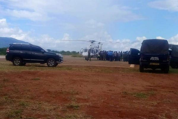 A police chopper lands in Voi to pick Governor Sonk after his arrest on December 6