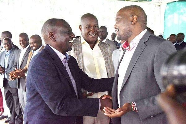 Deputy President William Ruto (left), Soy MP Caleb Kositany (centre) and Gatundu South MP Moses Kuria (right) at St Paul's Makongi Primary School in Soy, Uasin Gishu County, on January 12, 2020.