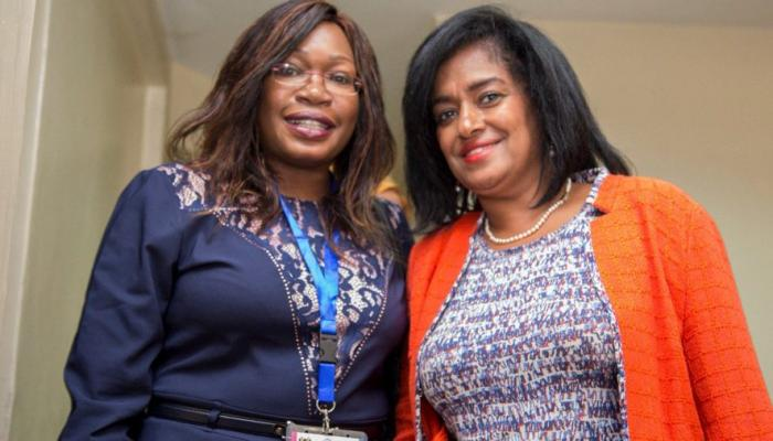 Betty Adera (left) with Nairobi Woman Representative Esther Passaris during recording of the Madam President show in December 2019
