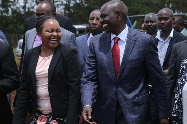 DP William Ruto and Governor Anne Waiguru share a light moment. Ruto angrily lashed at out at Waiguru, over her remarks on Uhuru