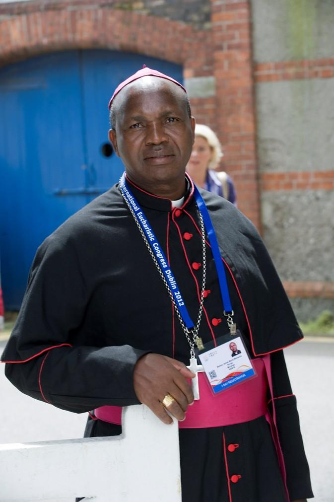 Pictured is Catholic Diocese of Murang'a Bishop James Maria Wainaina. He damanded an apology from MPs who caused drama in the Gitui Catholic Church