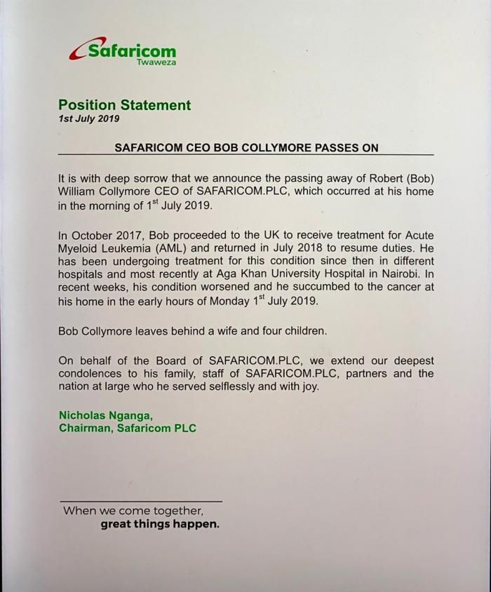 Kenya telecom giant Safaricom's CEO Bob Collymore dies of cancer