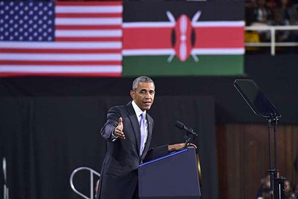 President Barrack Obama speaks to the youth at Kasarani Stadium, Nairobi in July 2015