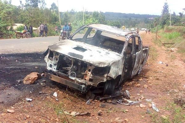 The vehicle belonging to Chinese company Henan international Corporation, that a mob burned after a fatal accident at Suneka along Kisii –Isebania road on October 20, 2019.