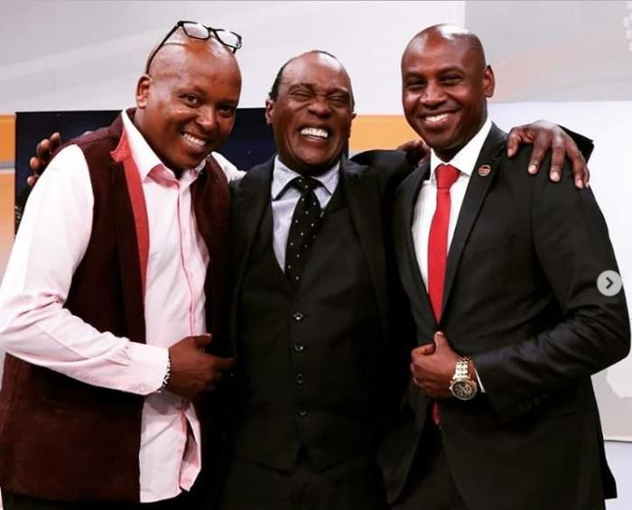 Jeff Koinange (centre) and his two guests Walter Mong'are (right) and Tony Njuguna pose for a photo in the Citizen TV studios on Wednesday 10, 2019.