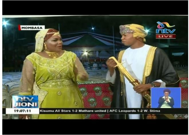NTV anchors Jane Ngoiri and Salim Swaleh rocking Swahili themed outfits during their Saturday, October 19 broadcast.