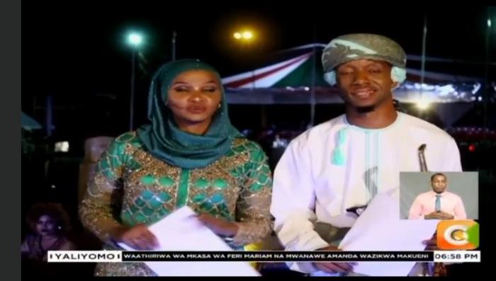 CItizen TV anchors Lulu Hassan and Rashid Abdallah broadcasting live from Mombasa on Saturday, October 19.