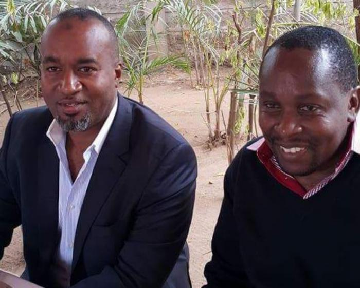 Richard Chacha with Mombasa Governor Ali Hassan Joho in Mombasa 2015, after he confirmed his appointment as the director of communication in Mombasa county.