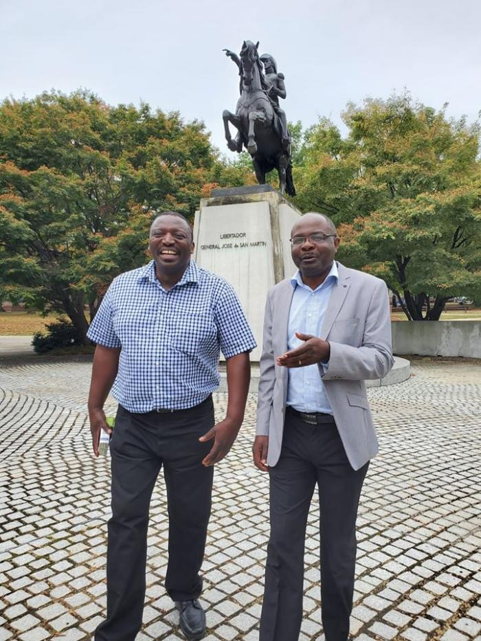 Alex Chamwada with a friend in New Jersey on October 7, 2019.