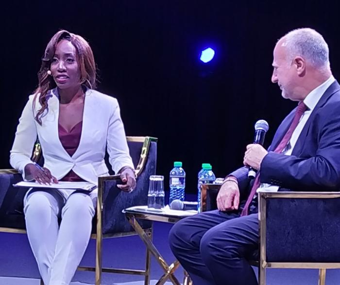 Citizen TV's Yvonne Okwara interviews Safaricom Interim CEO Michael Joseph at the Sarit Centre, October 23, 2019