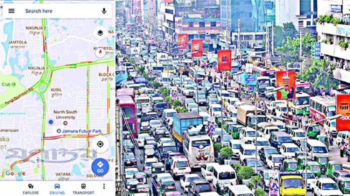 A collage photo indicating the use of google maps vis-a-vis traffic on a busy street.