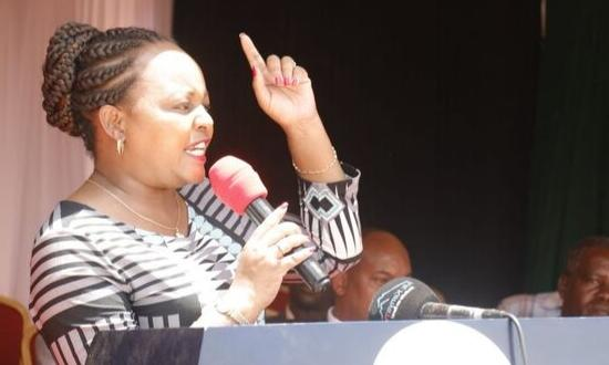 Governor Anne Waiguru speaking in Kirinyaga on Thursday, September 12, 2019. She opened Kagumo Market which had been funded by the county government