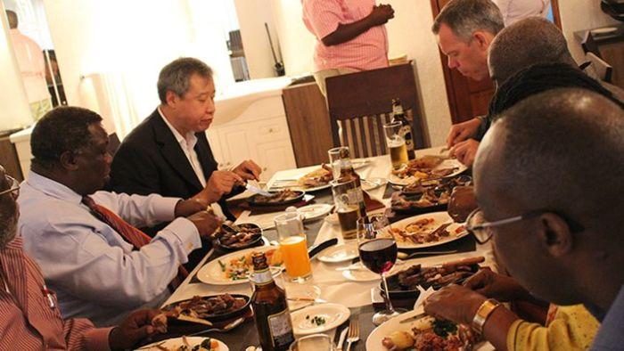 COTU boss Francis Atwoli entertains guests at his palatial home in Kajiado, August 2016.