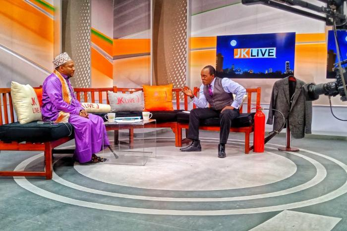 Citizen TV's Jeff Koinange hosting Nairobi Governor Mike Sonko on JKL. The interview was cut short