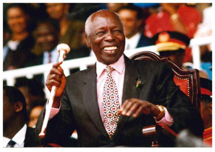 File image of former President Daniel Arap Moi laughing heartily at a past national event