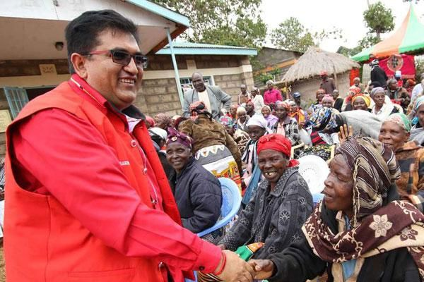 North Imenti MP Rahim Dawood is welcomed to the Mulathankari home for the elderly for a meeting on August 3, 2017.