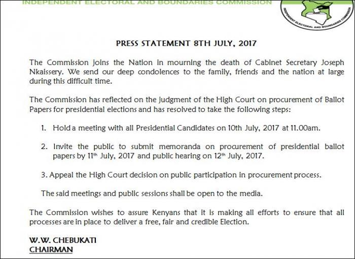 IEBC Invites Presidential Candidates and The Public For