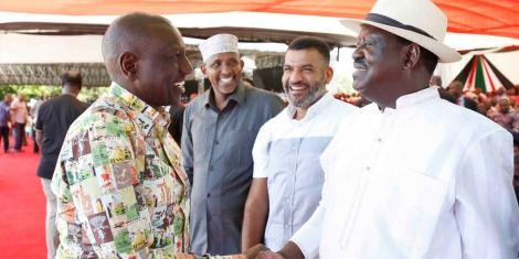 Deputy President William Ruto(left) with ODM leader Raila Odinga(right) on Sunday, October 20, during Mashujaa Day celebrations in Mombasa. ODM MP Otiende Amollo accused the DP of undermining the President Uhuru Kenyatta by not supporting the BBI
