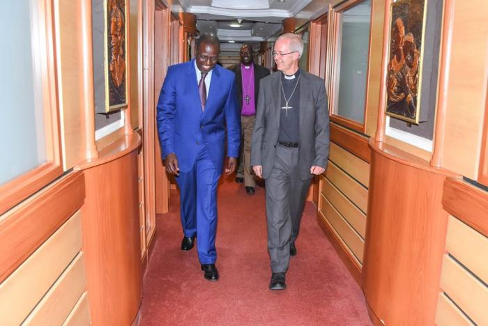 Deputy President William Ruto (r) walking alongside the Archbishop of Canterbury on January 21, 2020. The two held lengthy discussions regarding the BBI report.
