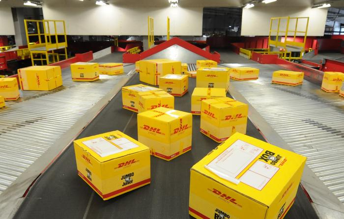 Boxes at DHL ready for distribution. Chris Kirubi ownsa section of  the Kenyan wing of that firm.