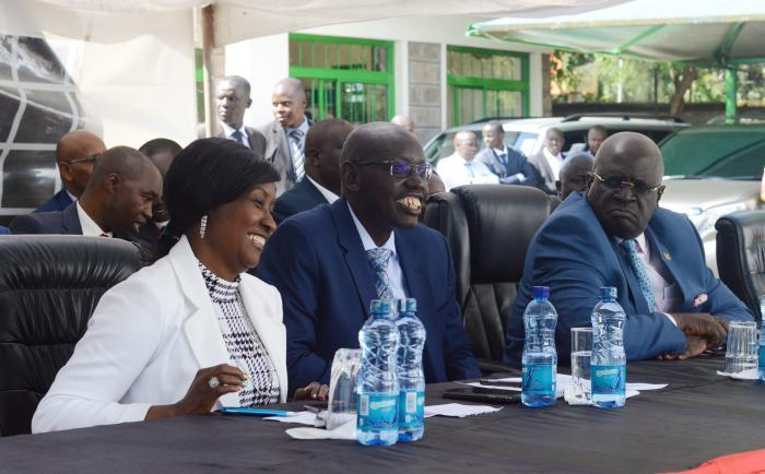 Education CS George Magoha (right), Education PS Belio Kipsang (center) and TSC CEO Nancy Macharia at Knec headquarters shortly before the 2019 KCPE results release on Monday, November 18, 2019. (PHOTO/ Simon Kiragu, Kenyans.co.ke)