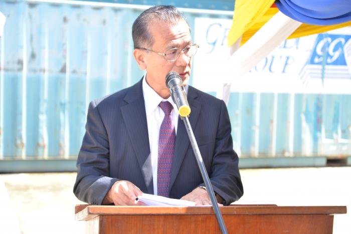 Japan Ambassador Ryoichi Horie addressing a crowd at the Port of Mombasa on October 2, 2019. Photo: Daily Nation.