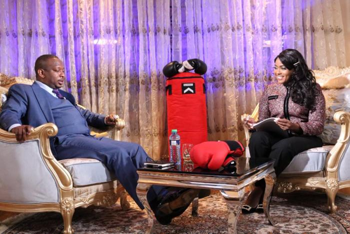 Nairobi Governor Mike Sonko and TV host Anne Kiguta.