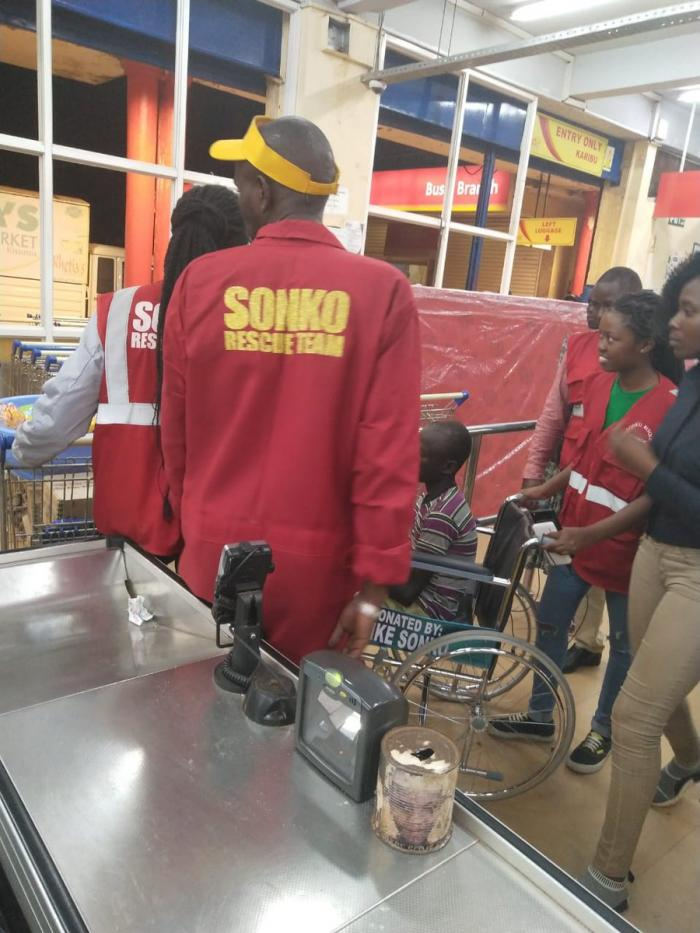 Members of Sonko Rescue Team visited Gilbert Otyeng and bought a term's supply of shopping