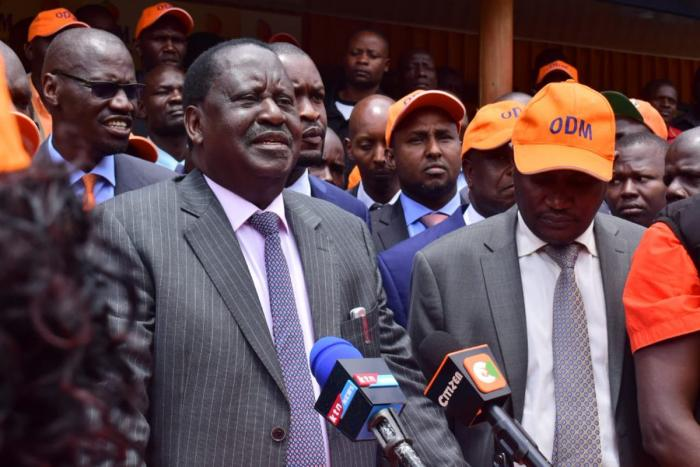 Raila during Imran Okoth's endorsement. Maina Kamanda joined him during a presser on Thursday, September 19, where he declared his support for Imran