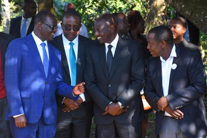 DP Ruto with Meru Governor Kiraitu Murungi at the county senator Mitika Linturi's father's burial on Tuesday, September 17, 2019. Ruto promised Jubilee leaders that he will revive the party