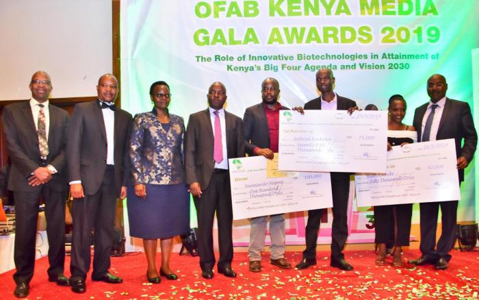 Gabriel Kudaka and winners in other categories pose with organisers of the OFAB awards on November 21