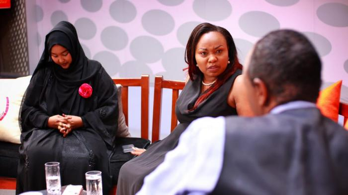 An angry Millicent Omanga whose tempers flared after Wajir Woman Representative Fatuma Gedi tore into her. Omanga also demanded an apology from Jeff Koinange